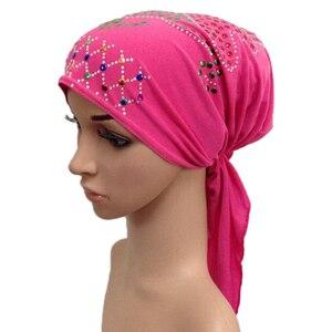 Image 5 - Muslim Under Scarf Bone Bonnet Women Inner Cap Rhinestone Hijab Underscarf Indian Cancer Chemo Cap Islamic Scarf Hair Loss Hat