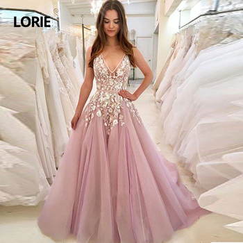 LORIE Lace Wedding Dresses 2019 New Gorgeous Ball Gown V Neck Pink Soft Tulle Bridal Princess Party