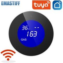 Display lcd tuya wifi gpl sensor de vazamento de gás alarme detector de segurança incêndio controle app casa inteligente monitoramento temperatura