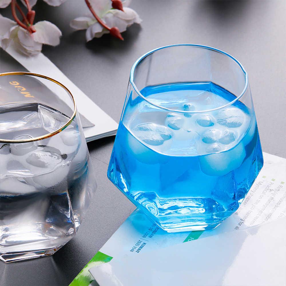 Geometri Wiski Kaca Diamond Kristal Kaca Piala Golden Rim Transparan Kopi Susu Teh Mug Rumah Bar Air Minum Beberapa Gelas Kaca