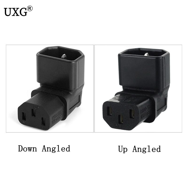 IEC 320 C14 To C13 Right Angle AC Adapter, IEC 3Pole Male To Female 90Degree Up Down Angle AC Converter