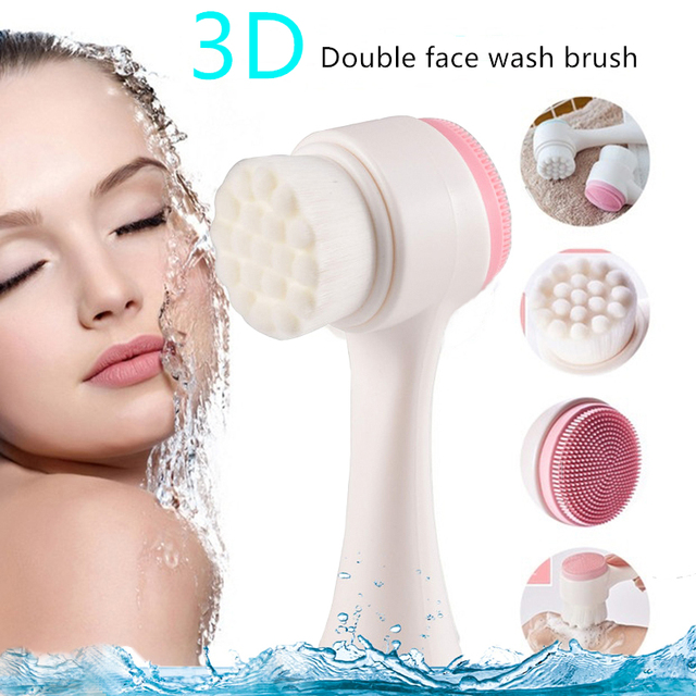 Facial Cleanser Brush 3D Face Cleaning Double Head Soft Fiber Silicone Massage Face Washing Product Skin Care Beauty Tool Beauty & Health Beauty Products Health & Beauty Skin Care