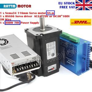 [EU Delivery] Nema34 8N.m 116mm Closed-Loop Servo Motor 6A&2HSS86H Hybrid Driver Controller 8A+400W 70V Power Supply CNC(China)