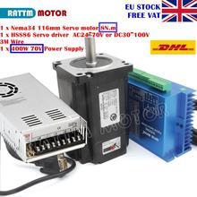 [Entrega da ue] nema34 8n. m 116mm circuito fechado servo motor 6a & 2hss86h híbrido controlador de driver 8a + 400w 70v fonte de alimentação cnc
