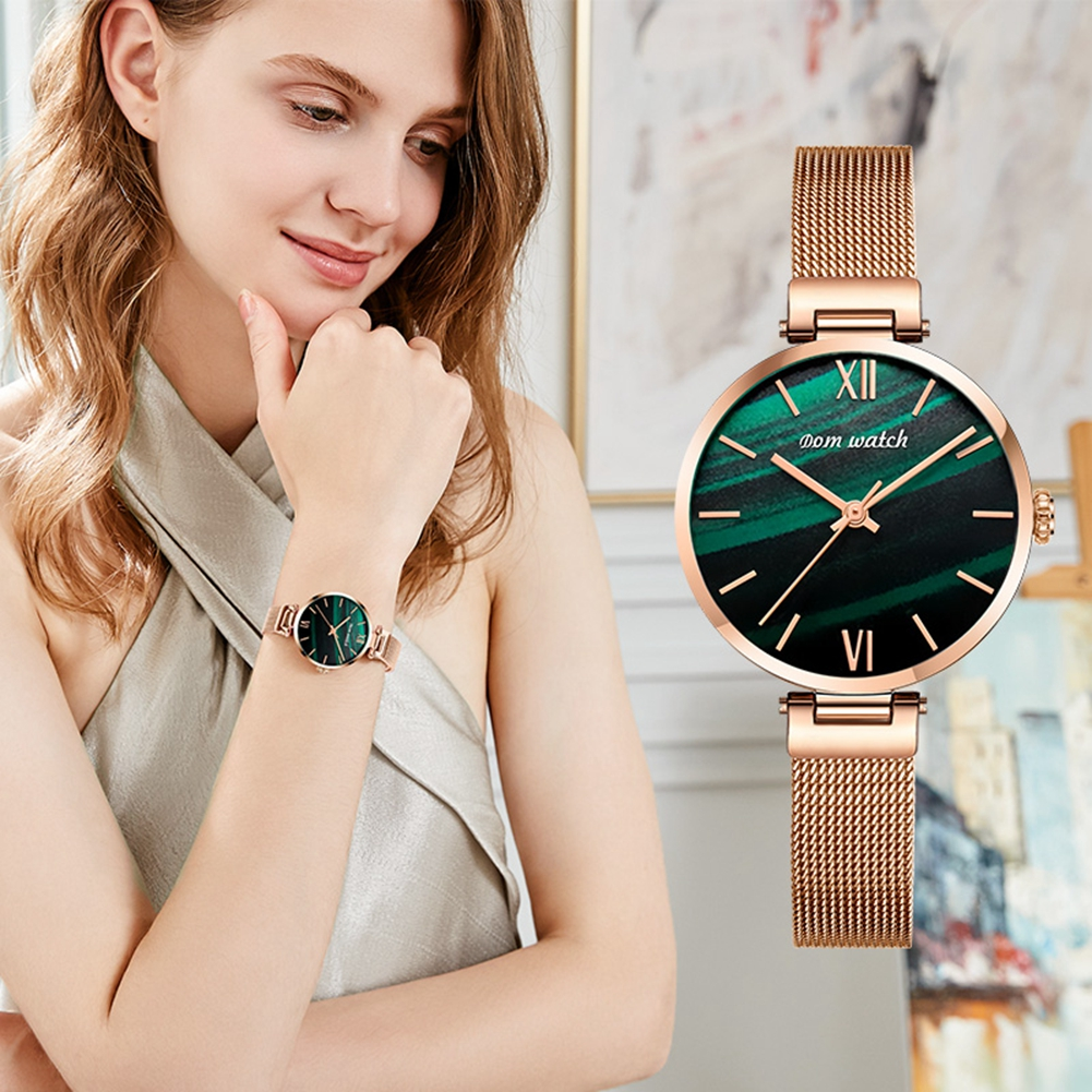 DOM Watch Women Watches Top Luxury fashion brand ladies Gold quartz Wrist watch leather mesh band reloj mujer relogio feminino