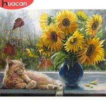 HUACAN boyama By Numbers çiçek kedi HandPainted DIY hediye ev dekorasyon kiti üzerinde çizim tuval yağlıboya duvar sanatı