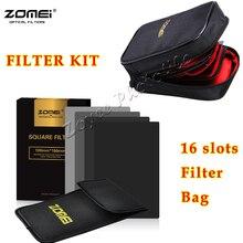 Zomei 150*100Mm Nd ND2 ND4 ND8 ND16 Neutrale Dichtheid Vierkante Filterfor Cokin Z Pro Serie Met houder 16 Stukken Filter Case Bag