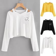 T-shirt à manches longues pour femmes, Haut à la mode, imprimé planète, Harajuku hauts vêtements Ropa Mujer, Camisetas