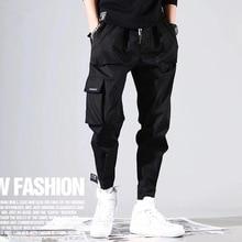 Summer 2020 Fashion Men Black Joggers Pants Mens Big Pockets Slim Fit Cotton Cargo Pants Male Streetwear Overalls Sweatpants