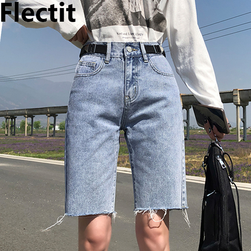 Flectit Women Bermudas High Waist Denim Shorts Regular Fit Female Summer Shorts Young Girl Streetwear