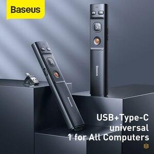 Image 2 - Baseus مقدم لاسلكي القلم 2.4Ghz USB C محول يده مؤشر التحكم عن بعد الأحمر القلم باور بوينت نقطة عرض مؤشر