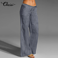 Celmia Vintage Linen Cotton Striped Pants Long Palazzo Women Casual Loose Wide Leg Pant Elastic Waist Trouser Plus Size Pantalon palazzo leg striped cami jumpsuit