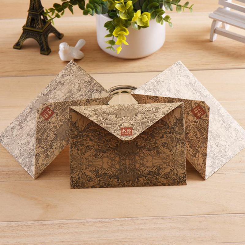 10 Pcs/set Retro Kraft Paper Envelopes Postcards Greeting Card Cover Brown Kraft Envelopes Stationery Office School Supplies
