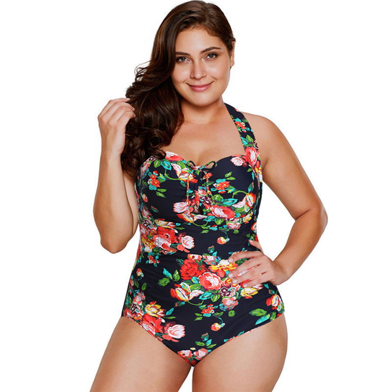 Xingcheng Manufacturers Direct Selling 2019 Amazon Hot Selling Large Size Chinlon Direct Injection Floral Beautiful One-piece Sw