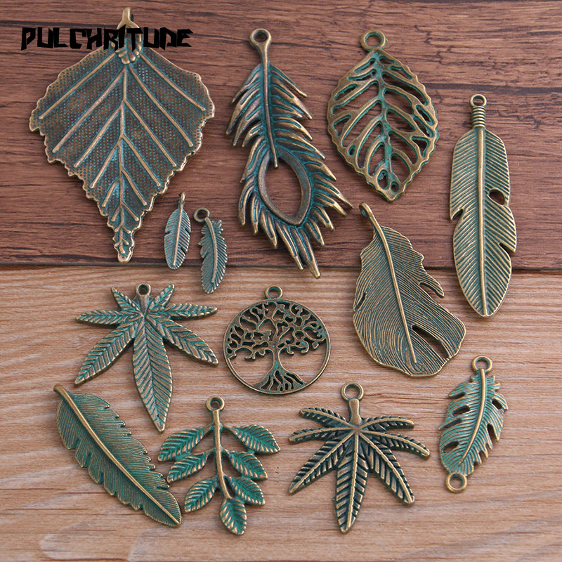 Pingente de liga de zinco em 13 estilos 2-30 peças, encantos verdes e verdes, de bronze e folhas de zinco, joias compatíveis com pingente de planta médica fabricações