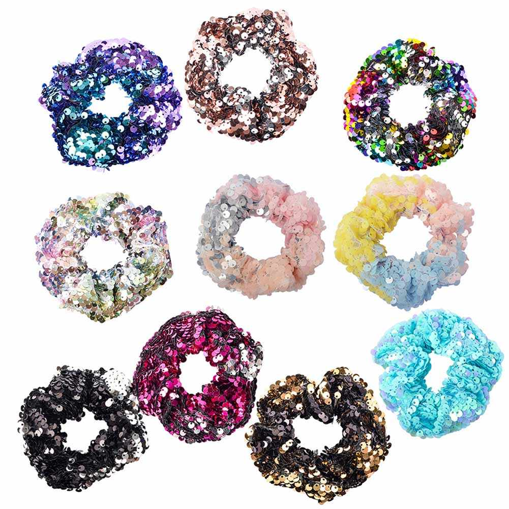 Girls Mermaid Sparkly Sequins Scrunchies for Hair Eleastic Bands Hair Scrunchy Hair Ties Ropes Ponytail Holders