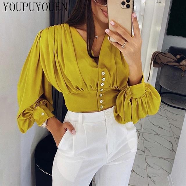 Women Lantern Long Sleeve Blouse Crop Top V-neck Casual Party Elegant Shirt Woman Fashion Clothes Summer Yellow Short Blouses 2