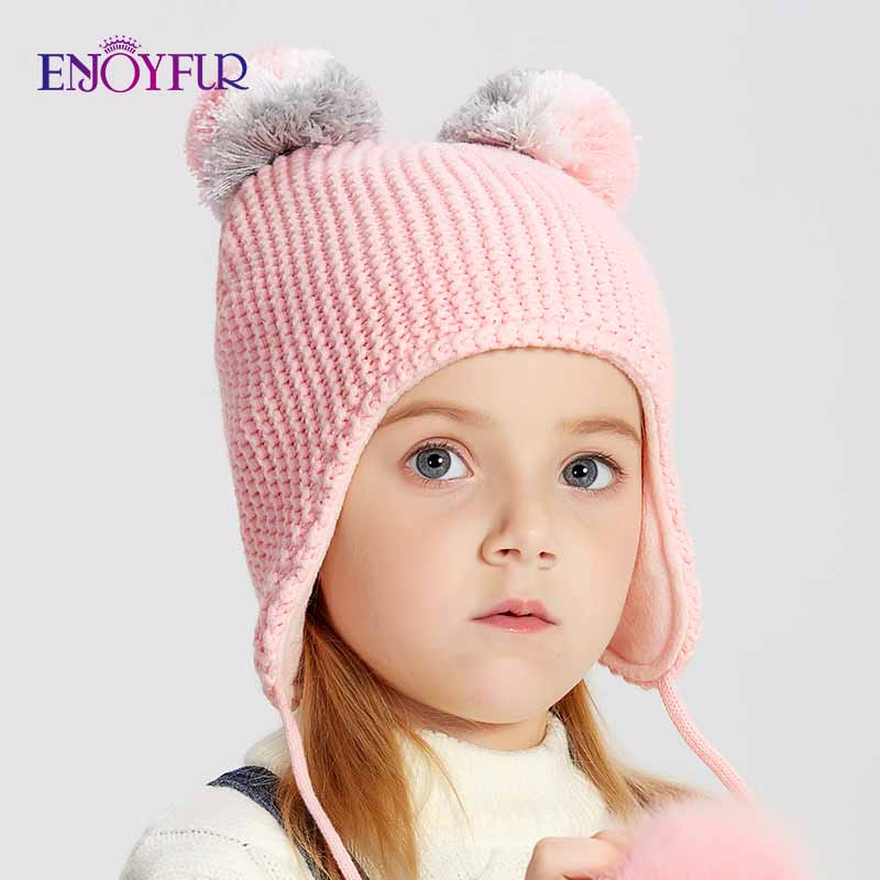 ENJOYFUR Winter Fox Fur Pompom Kids Hats For Girls&Boys Children Cotton Pompom Caps New Autumn Warm Knitted Ears Beanies