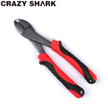 CrazyShark Line/Wire Cutter sleeve crimper Scissors Hook Remover Fishing Tools Tackles Pliers Long Nose Gripper Stainless Steel