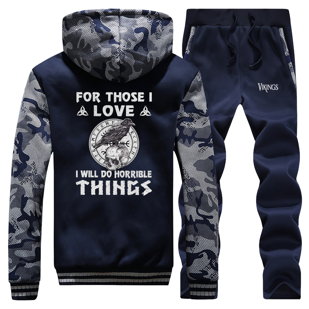 Thick Fleece Hoodies Winter Men Jacket+Pants 2 Piece Sets Ragnar's Raven On A Skull Viking Legend Tracksuit Men Warm Sweatshirt
