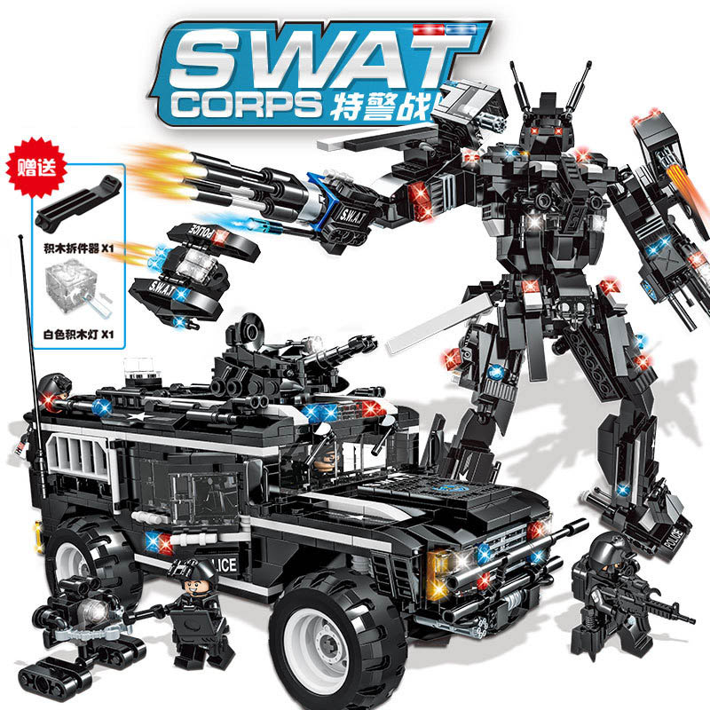 New 1077pcs Big Size 0553 SWAT Corps Military Warrior Armored Vehicle Car Robot DIY Building Blocks Bricks Toy For Kids Gift image