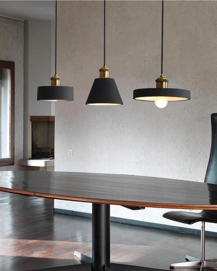 Lustre moderno e27, preto, branco, minimalista, mesa