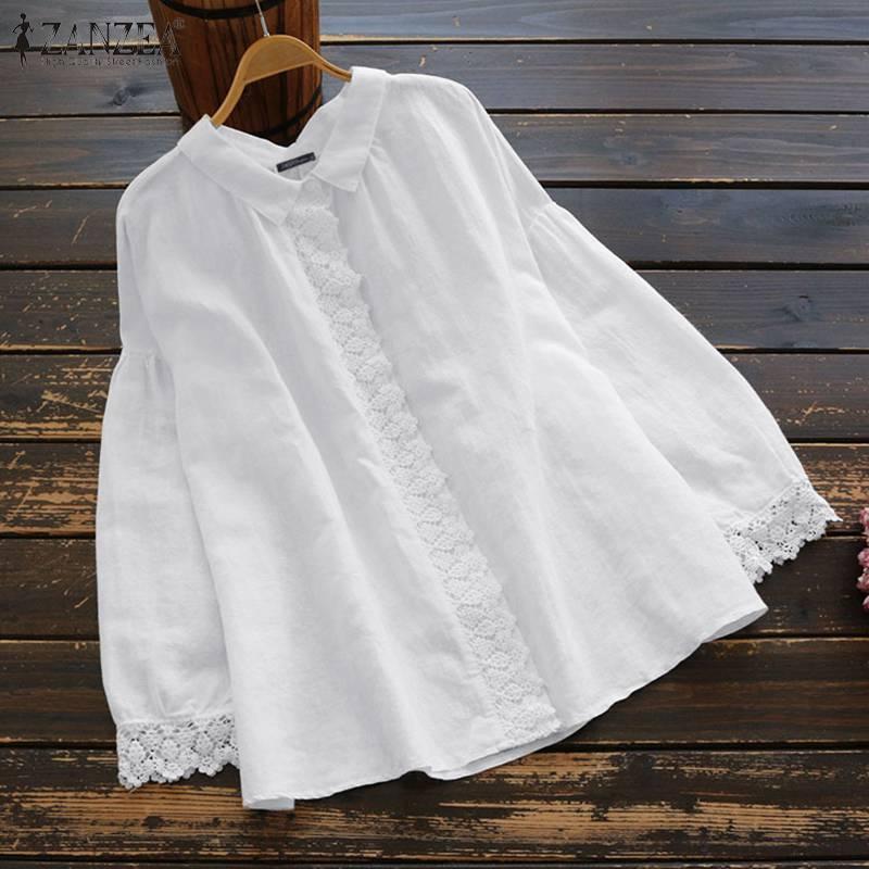 ZANZEA Women Spring Lapel Neck Long Sleeve Shirts Lace Crochet Blouse Solid Cotton Linen Blusas Chemise Elegant OL Work Tops