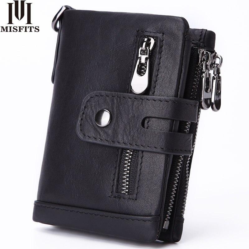 Misfits carteira de couro legítimo masculina, carteira com fecho, moda moedas dobrável 100% de couro de vaca, carteiras feitas à mão