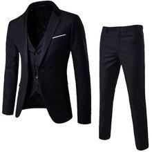 3 шт Для мужчин, модные, обтягивающие, костюмы Для мужчин в деловом стиле Повседневная одежда дружки костюм, мужские блейзеры куртка Штаны Брюки комплекты с жилетом