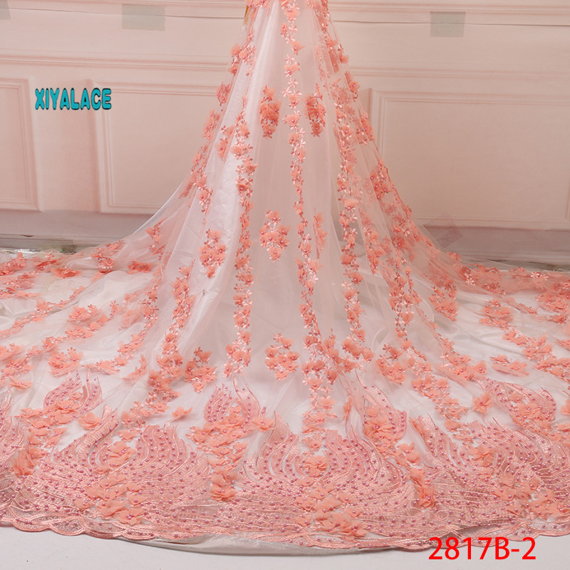 Nigerian Beaded Lace Fabric 2019 High Quality African 3D Net Lace Fabric Wedding French Tulle Lace Material For Dress YA2817B-2
