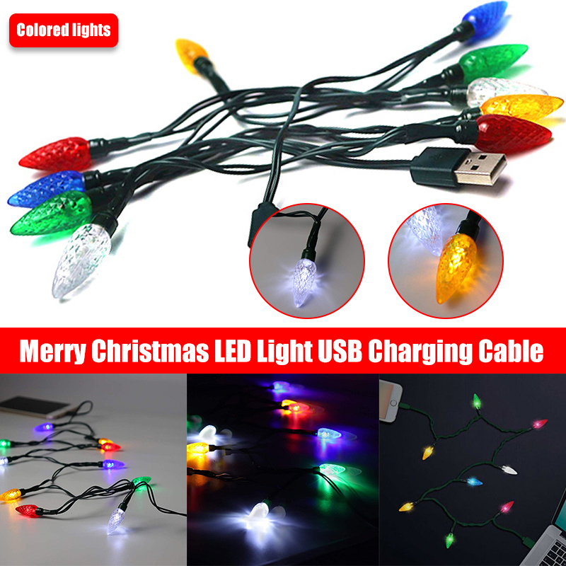 New Christmas LED Cable Smartphone USB Charging Cable With LED Lights Room Decoration Night Lights Charging Cable For Phone