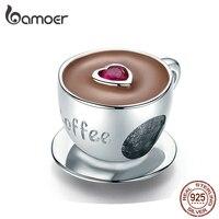 Bamoer кофейная чашка, металлические бусины для женщин, шармы пандора серебро 925 оригинальные европейский браслет с подвесками из стерлингово...