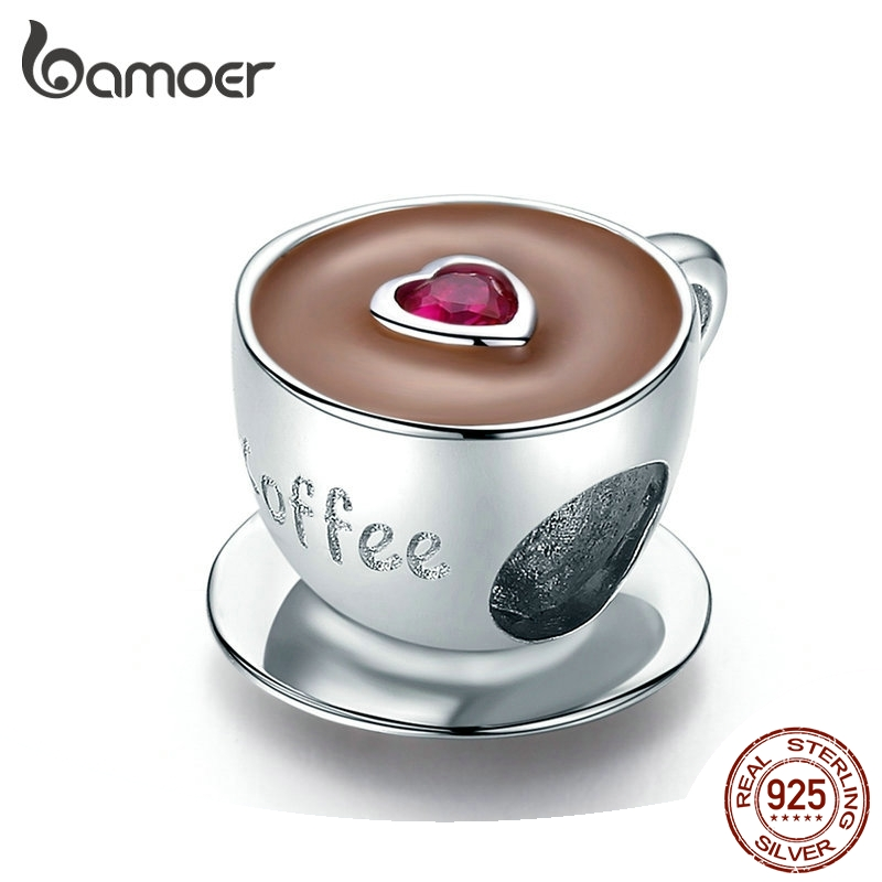 bamoer Coffee Cup Metal Beads for Women European Charm Bracelet 925 Sterling Silver Enamel Fashion Charms Jewelry SCC1286(China)