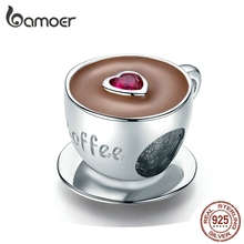 bamoer Coffee Cup Metal Beads for Women European Charm Bracelet 925 Sterling Silver Enamel Fashion Charms Jewelry SCC1286