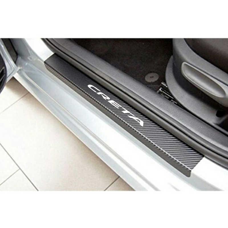 Naklejki z włókna węglowego Protect dla Hyundai creta akcesoria do wnętrza samochodu próg drzwi próg listwa progowa próg