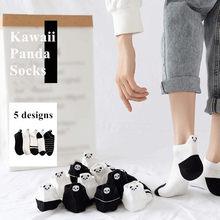 Kawaii dos desenhos animados panda kitty doraemon impresso meias para mulheres meninas algodão harajuku engraçado primavera outono curto barco meia calcetines