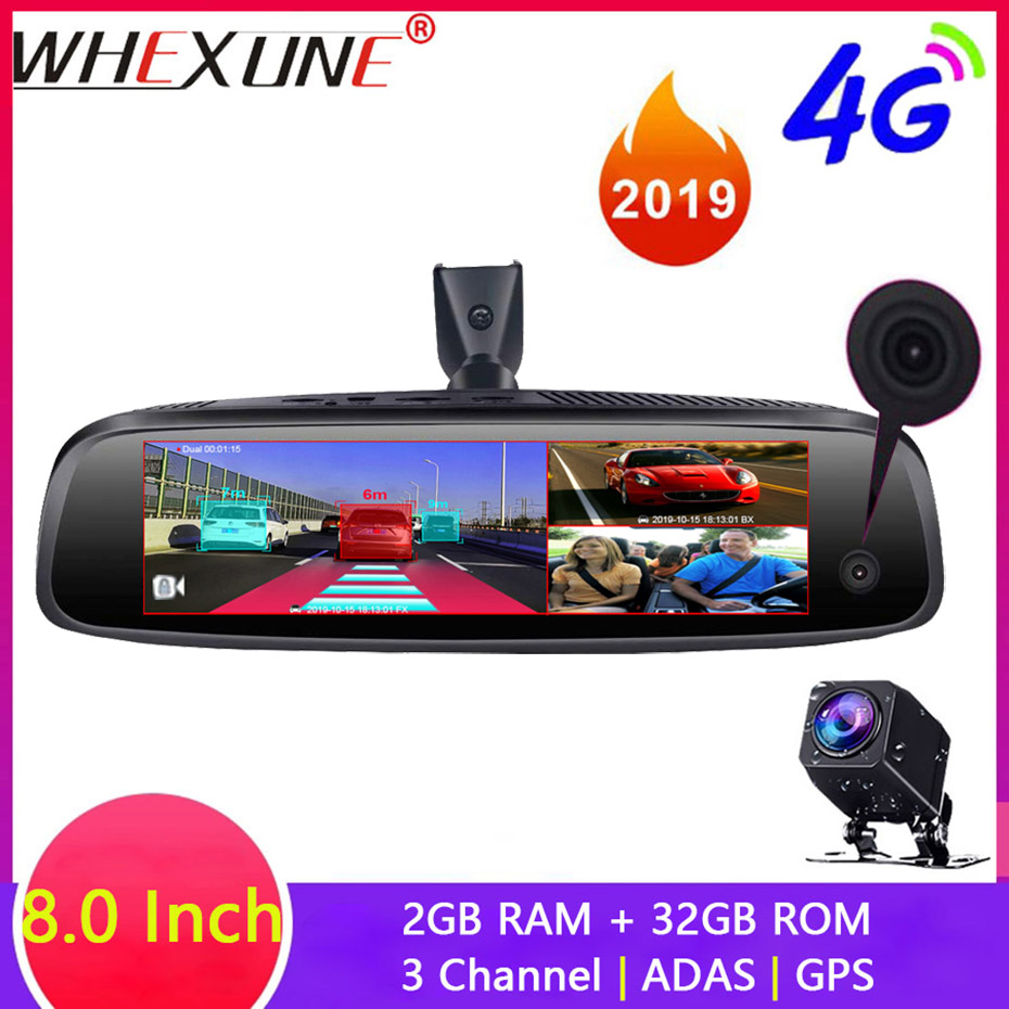 WHEXUNE 4G 3-CH Car DVR ADAS Android Rearview Mirror 1080P Special Bracket Auto 8