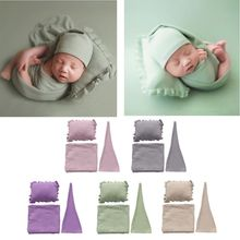 3Pcs/Set Newborn Photography Prop Infant Sleepy Cap+Wrap+Pillow Set Studio photo shoot Accessories bebe for newborns