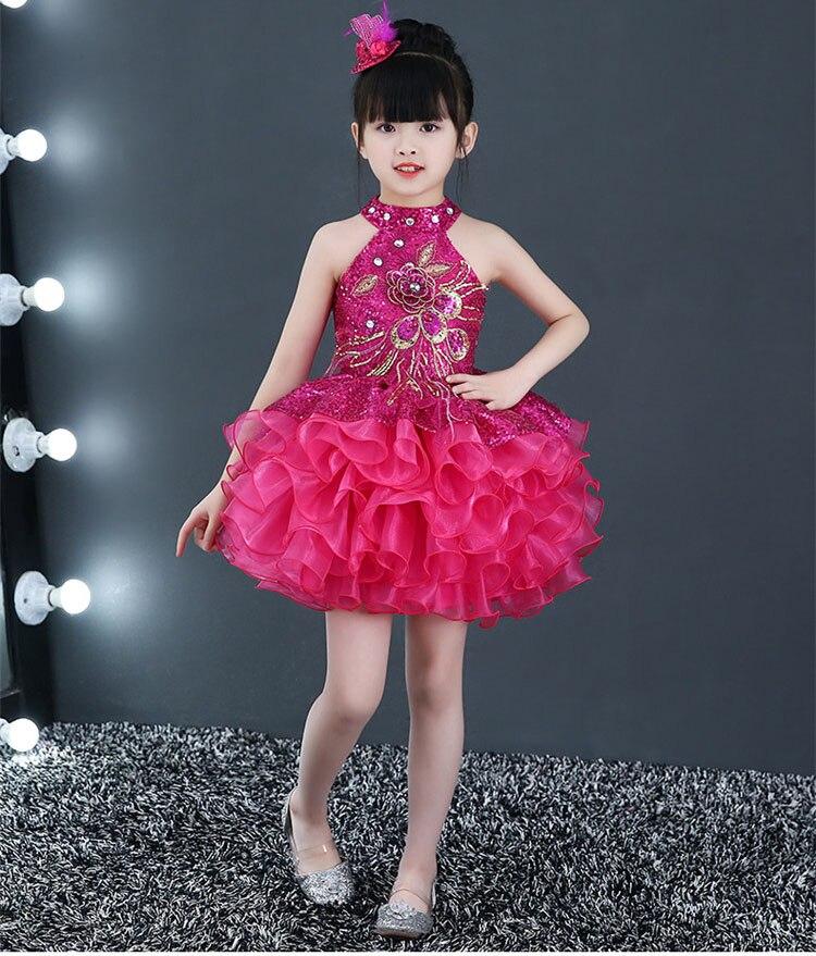 Короткие пышные красивые платья с оборками для маленьких девочек недорогой танцевальный костюм лавандового, красного, желтого цвета платье с блестками для маленьких девочек - Цвет: hot pink