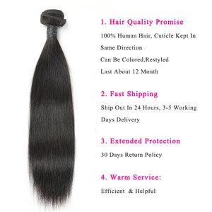 Image 3 - Alimice Indian Straight Menselijk Haar Bundels Met Sluiting 3 Bundels Hair Extensions Met Sluiting Remy Lace Sluiting Met Bundels