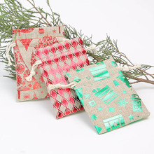 50Pcs cartoon Christmas hot stamping bundle pocket 9 * 12Cm holiday gift candy jewelry storage bag