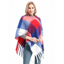 New Women's in Autumn and Winter Loop yarn Tendril Braided Hair Tassels Grid Thicken Pullover Cape Shawl(China)