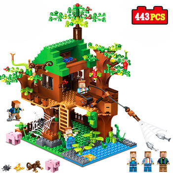 443pcs Mine Craft Building Blocks Compatible city series DIY Tree House Fishing Bricks Island Enlighten Toys For Kids gifts 342pcs my world series tree house in island model building blocks compatible legoed minecrafted village brick toys for children