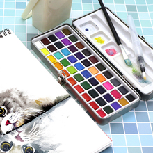 Watercolor Pigment Paper-Supplies Metal-Box Portable Solid Seamiart Set for Beginner