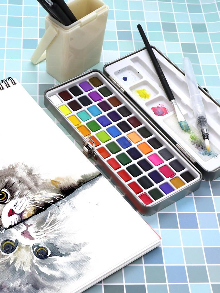Watercolor Pigment Paper-Supplies Beginner Metal-Box Drawing Seamiart Solid Set for Portable