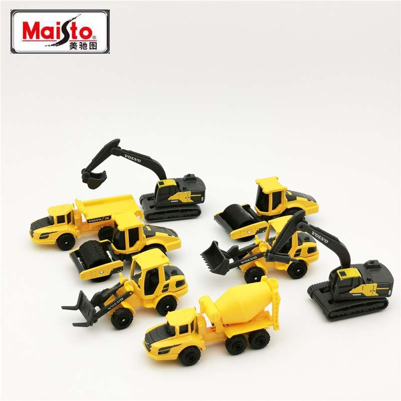 Maisto Diecast 1:64 Scale 3in Mini Metal VOLVO Construction Vehicles Model Car Dumper Excavator Toy Car For Kids Collection Gift