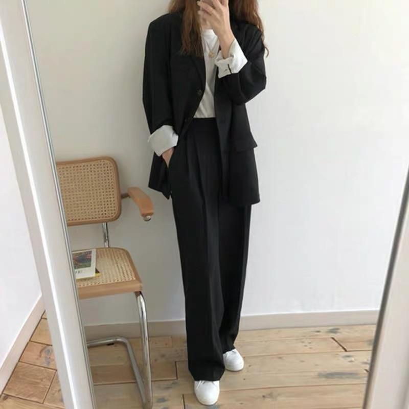 2020 OL Ladies Formal Work Pant Suit Notched Casual Long Blazer Jacket+Button Wide Leg Pant Spring Black Womens Suit Two Piece