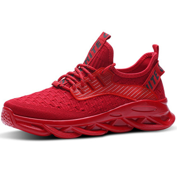 Men Sneakers Outdoor Men Casual Shoes Breathable Men Vulcanize Shoes Lace Up Red Shoes Men Mesh Shoes Fashion Casual No-slip