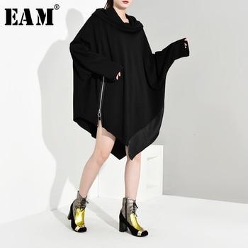 [EAM] Loose Fit Oversize Asymmetrical Sweatshirt New Round Neck Long Sleeve Women Big Size Fashion Spring Autumn 2020 1B1950