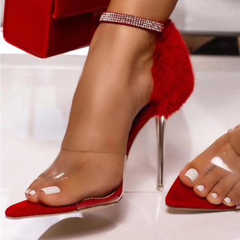 2020 NEW Genuine leather feather Sandals Summer PVC transparent clear high heels for women summer shoes black red
